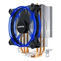 Compact CPU Cooler with 4 Pure Copper Heatpipe Radiator,120mm PMW Blue LED Fan for AMD/Intel CPU's Heatsink