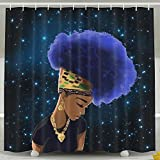 Cool Flower Hair Africa Women Shower Curtain Fabric Bathroom Shower Curtain Set,72x60 Inch