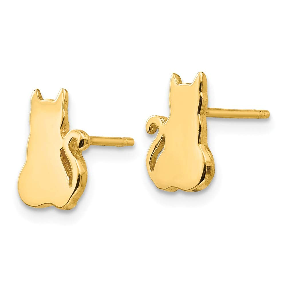 Girls 14k Yellow Gold Cat Post Earrings 10X7MM