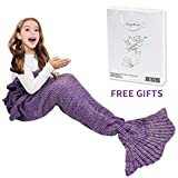 AmyHomie Mermaid Tail Blanket, Mermaid Blanket Adult Mermaid Tail Blanket, Crotchet Kids Mermaid Tail Blanket for Girls