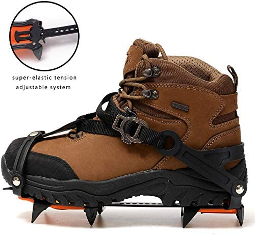 MIYA Ice Grippers Crampon- Shoe Cleats for Hiking Boots - Microspikes for Snow and Ice - Boot Spikes and Chains for Ground and Mountain