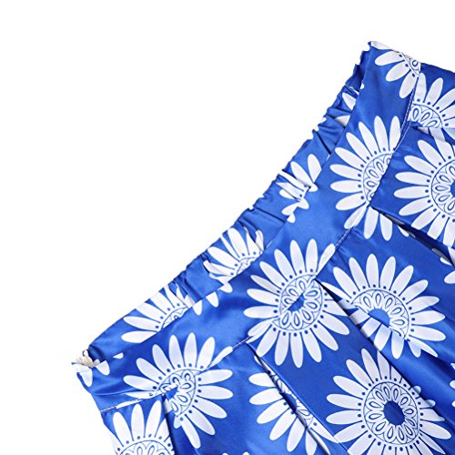 uideazone Mujer Impreso plisado acampanado Midi Falda Casual Cintura Alta Falda Flroal-a
