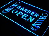 Kitchen Bar Menu Belfast Barber Pole Open Sign 12x8 w/ Door Window Wall Hanging Chain - Plug In Night Light Up Banner Box Plaques- Illuminated Etched Acrylic Marquee Letter for Business, Home, Salon Decoration (Blue)