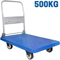 "EQUAL Foldable Platform Trolley For Lifting Heavy Weight, 500 Kg Capacity, Blue Color, 5"" wheel (63cm x 105cm)"