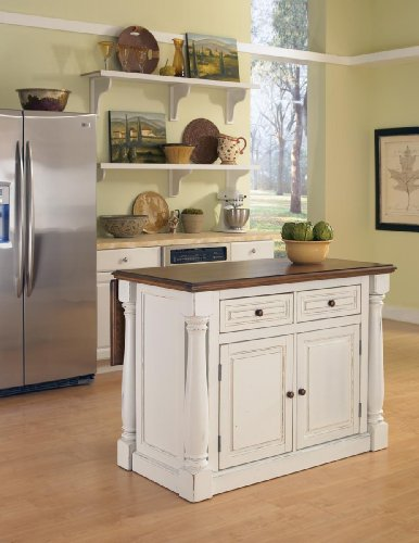 Home Styles Monarch Kitchen Island, Antique White Finish