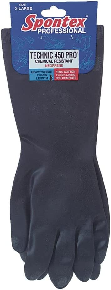 Black Spontex  Neoprene  Gloves  Extra Large  2 pc