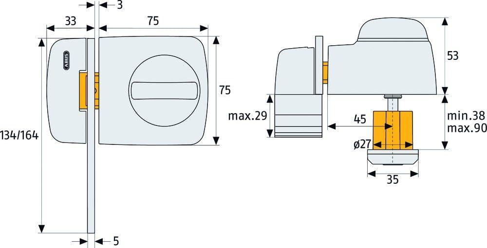 58923 braun ABUS T/ür-Zusatzschloss 7530 mit Sperrb/ügel f/ür T/üren mit schmalen Rahmenprofilen