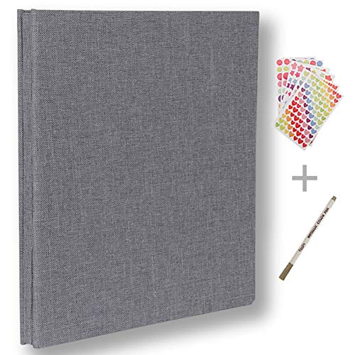 (Self Adhesive Photo Album Magnetic Scrapbook Album 40 Pages Hardcover Length 11 x Width 10.6 (inches) with Photo Album Storage Box DIY Accessories Kit (Grey))