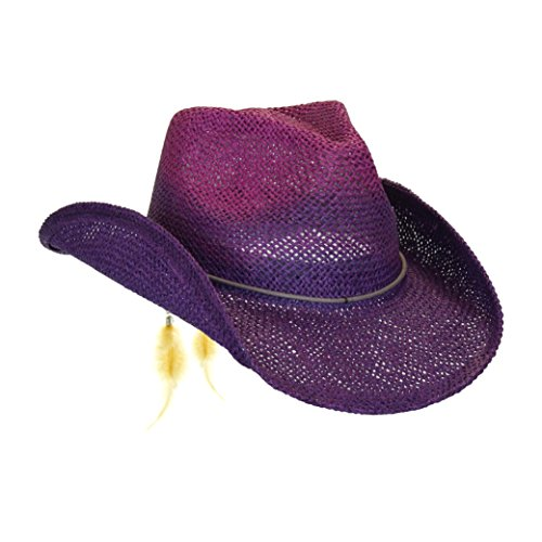 Peter Grimm Women's Purple Toyo Straw Summer Cowboy Hat w/Shapeable Brim