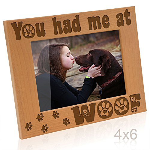 Kate Posh - You had me at Woof - Dog Paws Engraved Picture Frame (4x6 Horizontal) (Photo Frame Engraved Dog)