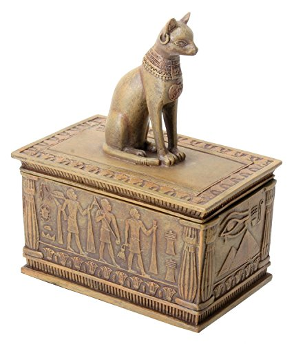 SUMMIT BY WHITE MOUNTAIN Sandstone Colored Bastet Box with Egyptian Detailed Bottom Design (Works Summit Stone)