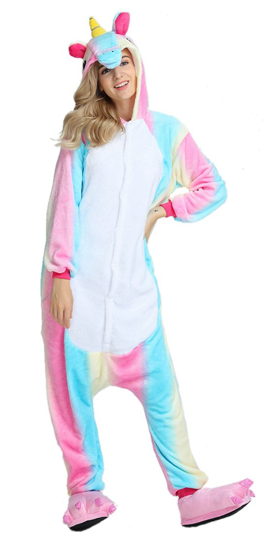 BLIFECOS BELIFECOS Flannel Children Rainbow Colorful Unicorn Cosplay Costume Onesie Pajamas for Girls125