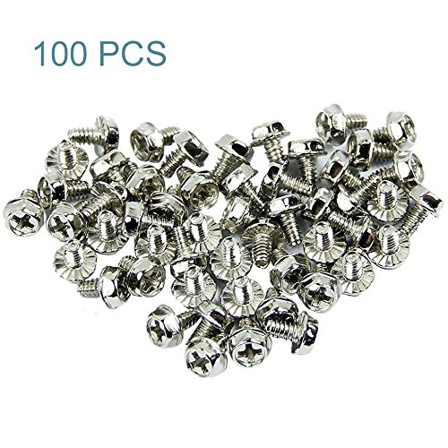 Maxmoral 100pcs Toothed Hex 6/32 Screw 6-32 Computer PC Case Hard Drive Motherboard Mounting -