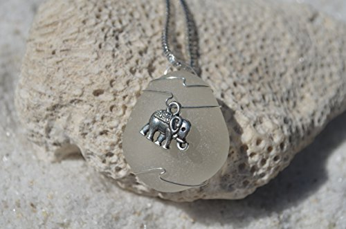 Glass Charm Elephant (Genuine Frosted Sea Glass Necklace with a Silver Elephant Charm on a Sterling Silver Box Chain)
