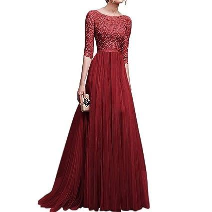 61714244ccc74 FairOnly Vestido de Fiesta de Noche de Gasa Delicada Elegante Largo Formal  de Ocio para Mujeres