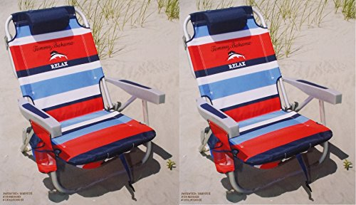 2 Tommy Bahama 2015 Backpack Cooler Chairs with Storage Pouch and Towel Bar- red blue