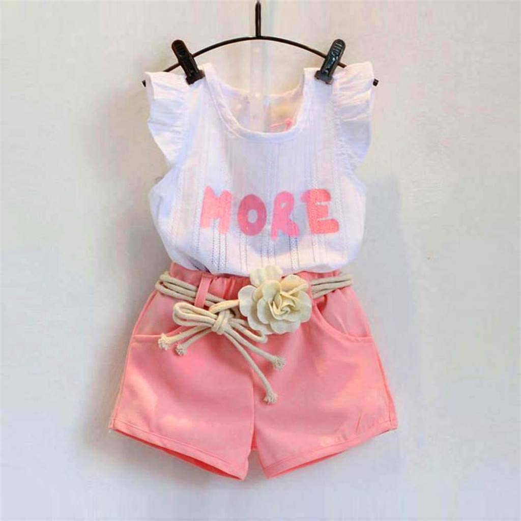 Yaseking Fashion Toddler Kids Baby Girls Print Sleeveless T-Shirt+Shorts+Belt Outfits Clothes Set