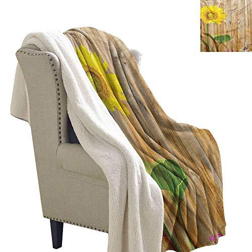 Williasm Sunflower Lightweight Microfiber Blankets Floral Countryside Wood 60x78 Inch -