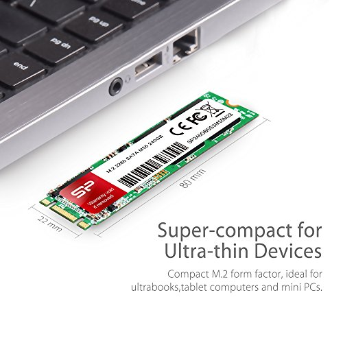 Silicon Power 240GB M55 M.2 2280 SSD With R/W Up To 550MB/s (SLC Cache for Speed Boost) SATA III Internal Solid State Drive for Ultrabooks and Tablets (SP240GBSS3M55M28) by Silicon Power (Image #1)