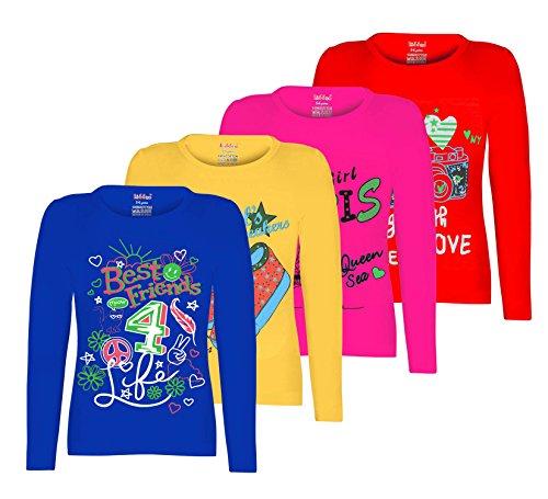 6daa980e77dd2 Kiddeo Girl s Cotton Full Sleeve T-Shirt - Pack of 4