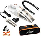 (Upgraded)Car Vacuum Cleaner, with LED Light Onshowy DC 12-Volt 106W 4.3~4.5K PA Suction Wet&Dry Hand-held Auto Vacuum Cleaner,14FT(5M)Power Cord with 2 HEPA Filters Plus One Case(White)