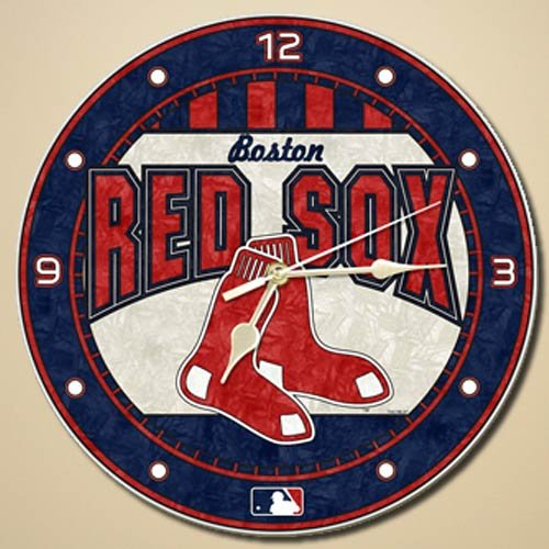 Sox Art Glass (MLB Boston Red Sox 12-Inch Art Glass Clock)