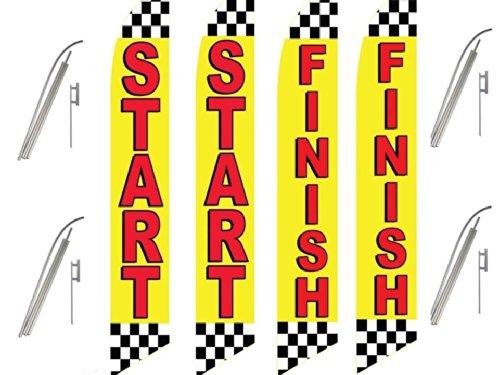 4 Swooper Flags & Pole Kits Start Finish Auto Car Black White Checkered (Finish Flags)