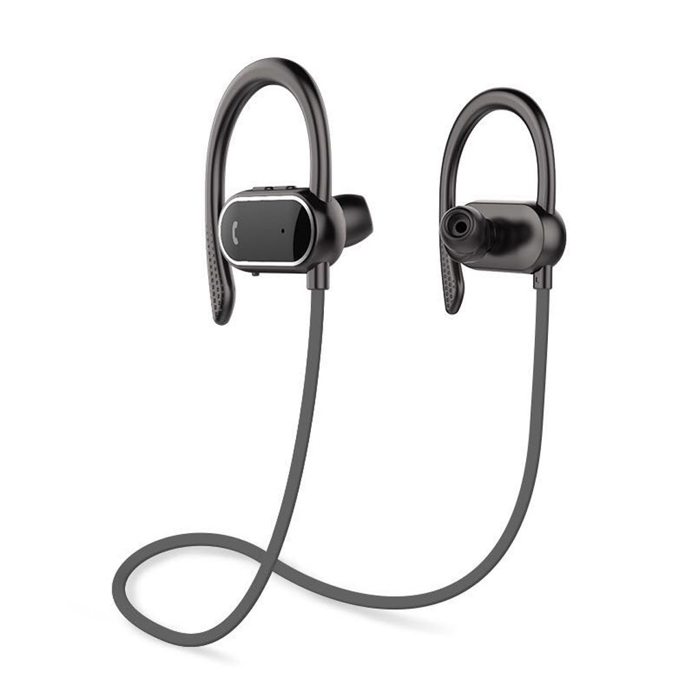 S9 Intelligent Pedometer Bluetooth Headphones, Wireless Sports Earphones/Mic IPX7 Waterproof HD Stereo Sweatproof Earbuds for Gym Running Workout 8 Hour Noise Cancelling Headsets (Black) by Finny