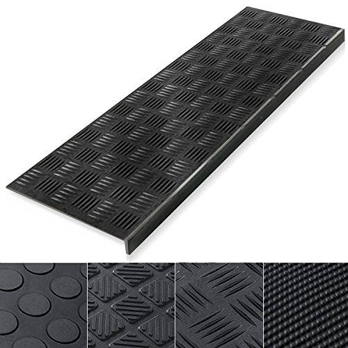 "Indoor & Outdoor Bullnose Rubber Non-Slip Stair Treads, 30"" x 10"" - 0.3"" Thick 
