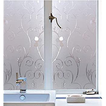 Bloss Waterproof Window Film Frosted Flower Contact Paper Decorative Film  Home Bedroom Bathroom Window Glass Sticker