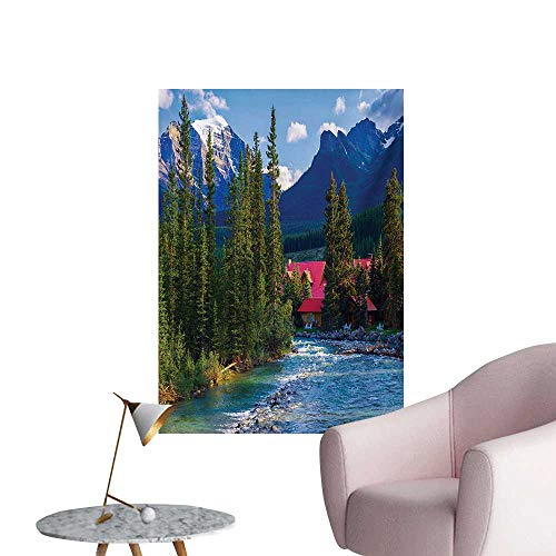 Anzhutwelve Nature Wall Paper Pipestone River Rushes Past Log Lake Louise Village Banff National ParkForest Gren Turquoise W20 xL28 The Office Poster