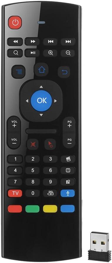 HYSWOW Multifuncional Control Remoto con Entrada de Voz de Micrófono, 2.4G Portátil Mini Inalámbrico de