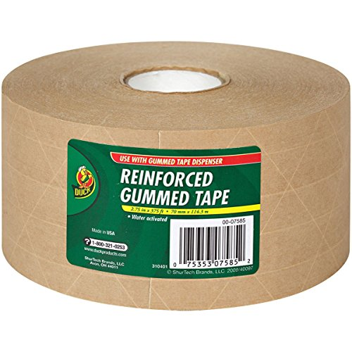 Duck Brand HD Reinforced Gummed Kraft Paper Tape, 2.75 Inches x 375 Feet (964913) (Reinforced Box)