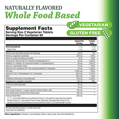 Pioneer B Complex Stress Formula High Potency B Vitamins Whole Food Based Verified Gluten Free 120 Vegetarian Tablets