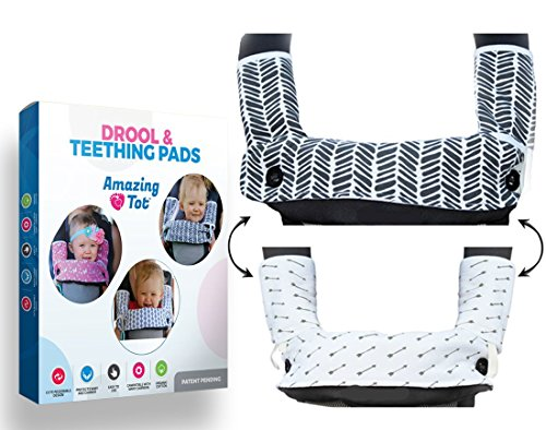 Drool and Teething Pad Reversible Organic Cotton 3-Piece Set for Ergobaby Four Position 360 Baby Carrier (Grey and White Arrows) [Patent Pending] For Sale
