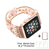 Apple Watch Band,Ezzdo Decorated Handmade Jewelry Faux Pearl Luxury Bracelet Rose Gold Elastic Stretch Replacement Strap + Frame for women iWatch 38mm 42mm Series 3 2 1 (Pink Jewelry, 38mm)