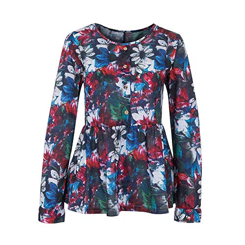 CUCUHAM Women Ladies Long Sleeve Button Printing Casual Tops T-Shirt Loose Blouse(A1-Multicolor,US:14/CN:3XL) for $<!--$10.30-->