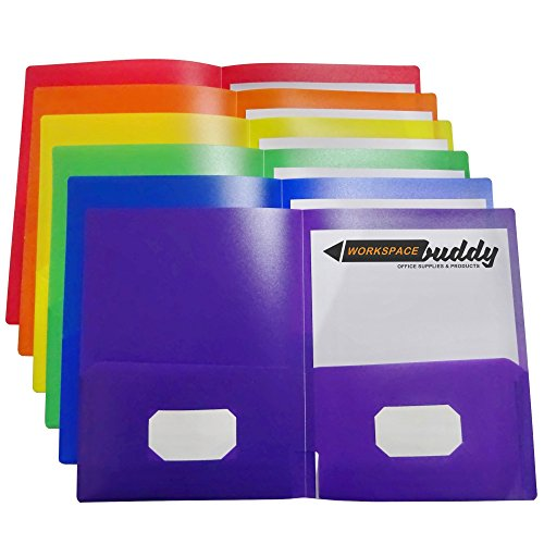 Workspace Buddy Heavy Duty Plastic Two-Pocket File Folder for Letter Size and A4 Size Papers with Business Card Slot (Up to 100 Sheets, Set of 6 Assorted Colors, Waterproof, Durable, Easy to Clean)
