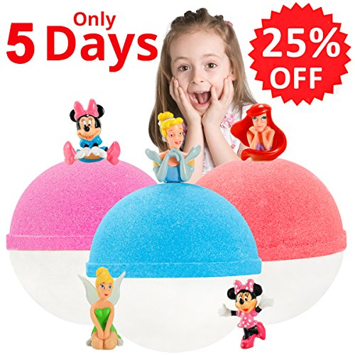 Kids Bubble Natural Bath Bombs Gift Set with Surprise Toys Inside for Kids Luxury Lush Organic Bath Fizzies Lavender for Teen Girls and Boys Best Brithday Holiday Gift Set 3 XL 6.5oz by Great (Holiday Luxury Set)