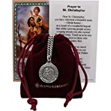 All Patron Saints St Christopher Medal Prayer Card Set with Necklace - 24 inch Chain