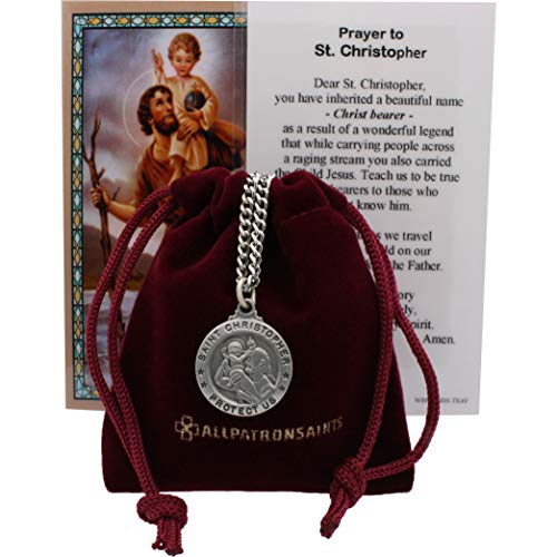 Patron Saint Medal Necklace - All Patron Saints St Christopher Medal Prayer Card Set with Necklace - 24 inch Chain