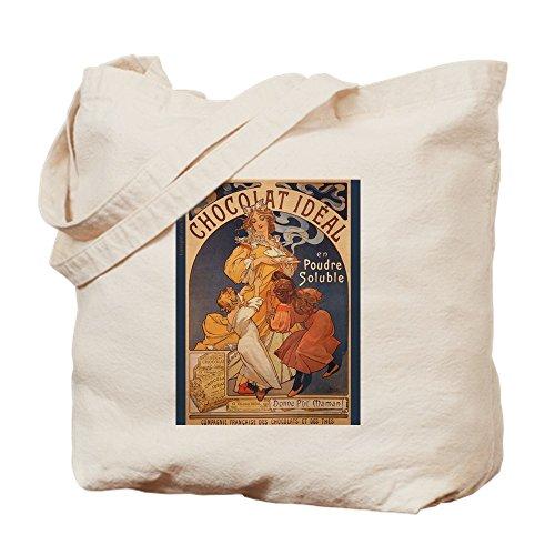 CafePress–Mucha Schokolade Art Nouveau Label–Leinwand Natur Tasche, Reinigungstuch Einkaufstasche Tote S khaki