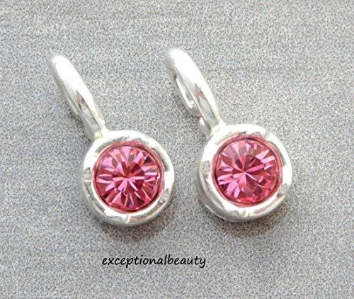 2 Silver Pink Rose Crystal Swarovski Rhinestone Bead Drop Charms Pendants