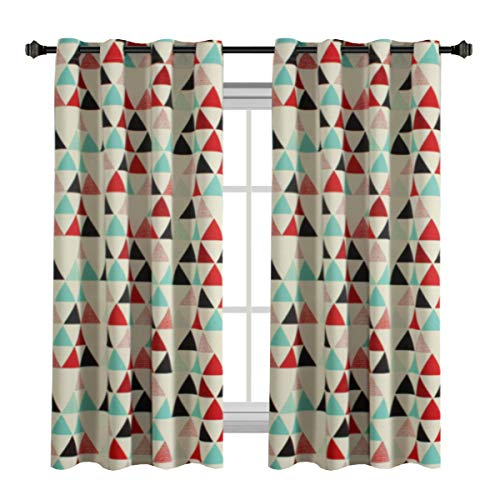 H.VERSAILTEX Classical Style Stone Blue/Red/Beige/Black Triangle Pattern Room Darkening Thermal Insulated Blackout Curtain Drapes with Antique Grommet, 1 Panel - 52 x 63-Inch
