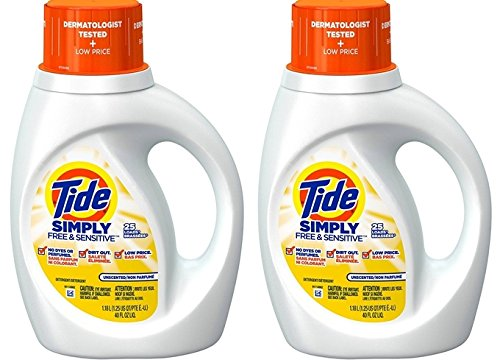 Tide Simplyフリー& Sensitive、液体洗濯洗剤、無香、40 Ounces (Pack of 2 ) B075V9S9T8