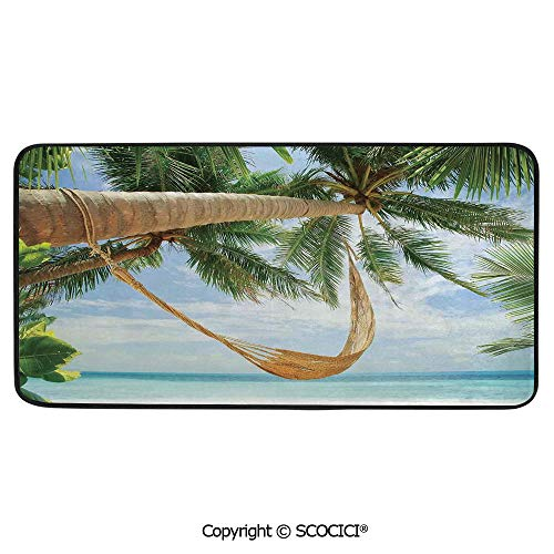 Rectangle Rugs for Bedside Fall Safety, Picnic, Art Project, Play Time, Crafts, Large Protective Mat, Thick Carpet,Tropical,View of Nice Hammock with Palms by The Ocean Sandy Shore,39