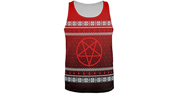 8bc19fe530e607 Amazon.com  Old Glory Ugly Christmas Sweater Red Black Pentagram Ombre All  Over Mens Tank Top  Clothing
