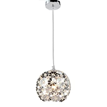 NAVIMC Modern Silver Crystal Globe Ceiling Pendant Light Fixture Flower  Chandelier Lamp for Kitchen, Bedroom