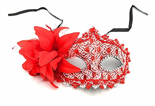 Face Mask for Dress Ball,Venetian Style Lace Pattern Facepiece for Masquerade Halloween Costume Party(Red) Day Venetian Mask