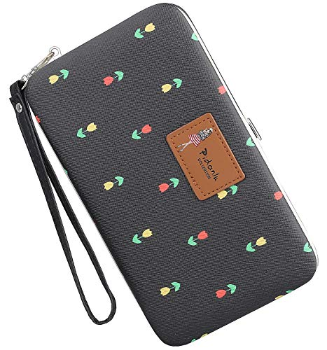 Leather Phone Clutch Wallet for Ladies Large Wristlet Hard Case Long Purse for iPhone X / 8 / 8 Plus / 7 / 7 Plus Samsung Galaxy S8 / S7 / NOTE 8 / NOTE 6 MINI Checks Flowers Pattern (Black)